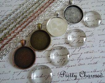 10 DIY 25mm Blank Photo Pendant Kits - Pendant Trays with Glass Cabochons and Rolo Style Link or Ball Chains Choice of Colors