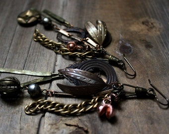 The Tinker. Rustic Bohemian Vintage Brass and Copper Charm Collection Earrings.
