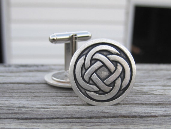 Celtic Knot Cuff Links. Pewter Celtic Knot.