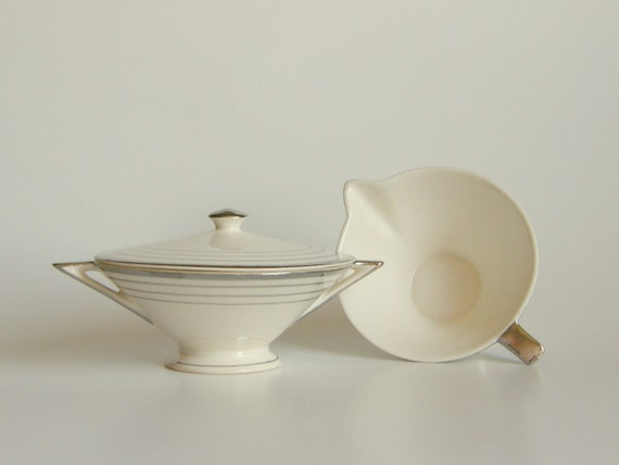 RESERVED for Caufield / Smith Wedding Registry: Atomic Art Deco Cream & Sugar Set - Salem Streamline, White w/ Platinum