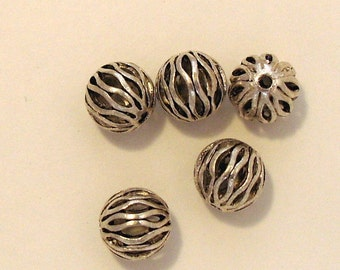 5 Open Weave  9 mm Pewter Spacers Findings (634)