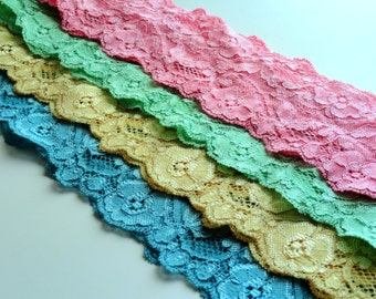 PINK Lace Headband Spring Headband Set Gift for Daughter Gift for Girl Yellow Pink Green Blue Womens Adult Headband