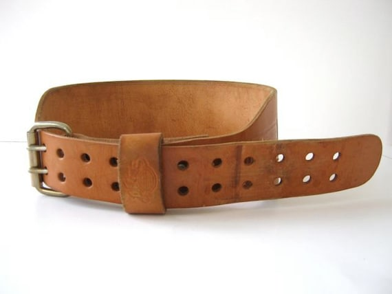 vintage leather weight lifting kidney belt by