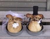 Primitive Wedding Mouse set, Bride and Groom Mouse Set, wedding mice, primitive Mice