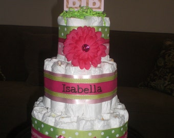 Pink and Green Diaper Cake Baby Shower Centerpieces Gift other sizes too
