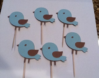 Baby Bird Baby Shower or Birthday Cupcake Toppers one dozen   You choose colors