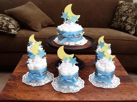 moon and stars whimsical diaper cake baby shower centerpiece other
