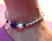 Anklet Crystal Point , AAA Sweatwater Pearl and Peace Sign - Divine Feminine