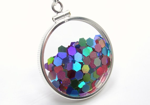 Fireworks Shake Locket Collection-Glass Shake Locket Necklace Glitter Double Sided Holiday Movie Sterling Silver Filled Holographic Keepsake