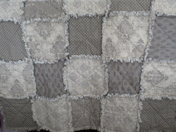 Summer SALE  Puttin on the Ritz Toddler Bed Crib  Size Rag Quilt  Grey  OOAK