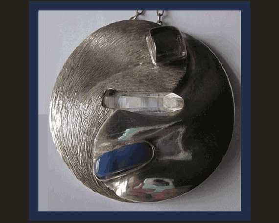 RESERVED for D. Anderson--Shadow and Light--YIn/Yang Pendant/Brooch by Jakeda,Sterling,Stone and Crystal,Free US Shipping