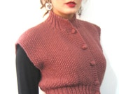 BASIA DESIGNS Classic Peplum Vest in soft  Peach Wool and Nylon hypoallergenic blend