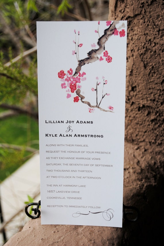 Cherry Blossom Watercolor Tea Length Wedding By Thebrideidea