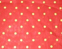 4 1/2 yards 44 wide Vintage 70s red / yellow polka dot cotton batiste dressmaking fabric