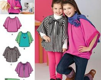 SALE! GIRLS PATTERN / Learn to Sew / Knit Top - Fleece Capelet - Scarf / Beginning Sewing