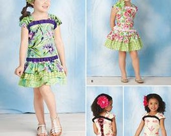 GIRLS CLOTHES PATTERN / Make Boutique Style Top and Tired Skirt / Child Sizes 3 To 8