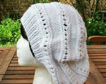 Knit Hat - The Eyelet Rasta in White - Womens Fashion - Accessories