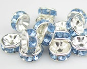 Vintage 10 Pale Blue Crystal Silver Plated Spacer 8 mm Beads GR8
