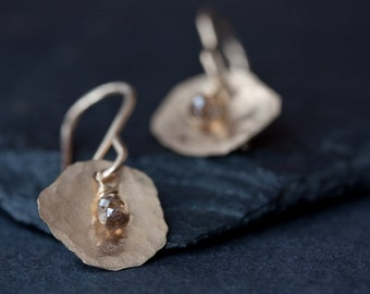 Champagne Diamond Petal Earrings in Gold