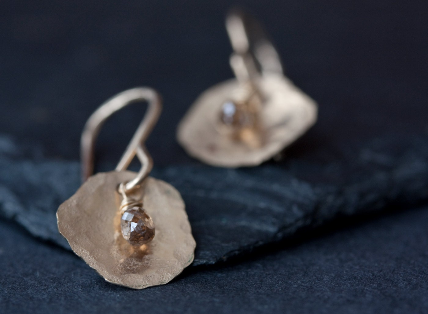 champagne diamond petal earrings in gold. Black Bedroom Furniture Sets. Home Design Ideas