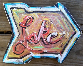 LARGE Arrow Lake Sign on Wood Cut-Out
