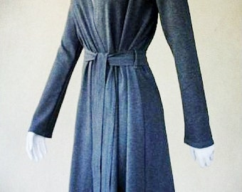 Long hooded jacket, organic cotton coat, wrap dress with hood, handmade in Canada, women's clothes, charcoal grey wrap dress