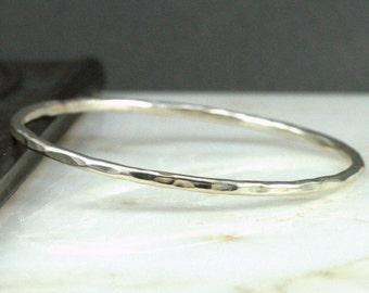 Sterling Hammered Bangle - Minimalist Boho Chic Stackable Bracelet
