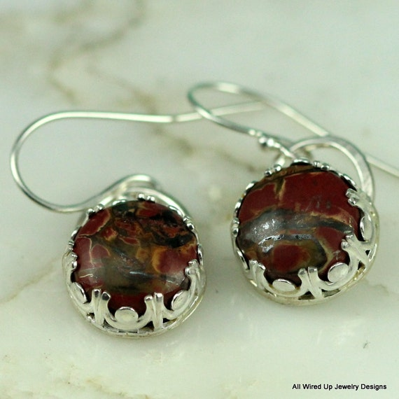 Sterling Jasper Earrings - Round Sterling Dangle Earrings - Red Stone Earrings