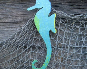 Seahorse metal wall art - reclaimed metal gift wall sculpture aqua bathroom art beach house