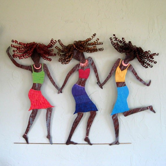 Art sculpture upcycled metal wall decor women friends sisters teens Girls just want to have fun
