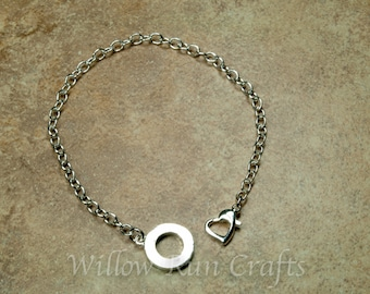 1 Silver Plated Chain Bracelet 8 1/2 inch with heart clasp. Make a charm bracelet. (07-10-379)
