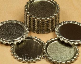 100 Flattened Silver Bottle Caps   (03-04-220)