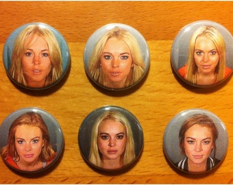 lindsay lohan mugshot refrigerator magnets. complete set of six.  with extra special bonus.