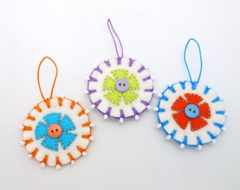 Spring / Summer Wool Felt Flower Ornaments - Set of 3
