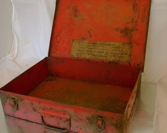 Fabulous Vintage Industrial Red and Rusty Metal Storage Box, Perfect Man Gift