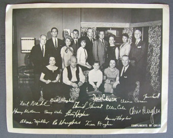 Vintage 1960s As The World Turns Soap Opera Cast Photograph Compliments of Cheer Detergent, 8 x 10 inches