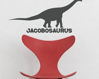 Custom Dinosaur Name, Brontosaurus (Long Neck) 10x22 inches Vinyl Wall Decal Custom
