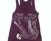 Womens SLOTH 2 (Live Slow) american apparel Tri-Blend Racerback Tank Top S M L (8 Colors)