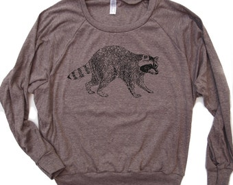 Womens Urban RACCOON Tri-Blend Pullover - american apparel S M L (5 Color Options)