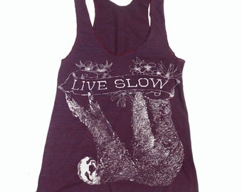 Womens SLOTH 2 (Live Slow) american apparel Tri-Blend Racerback Tank Top S M L (8 Colors)
