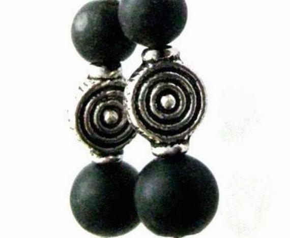 Celtic Earrings Black, Irish Kilkenny Marble. Handmade in Ireland. Dubh Linn