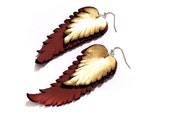 Feather earrings. Long dangle leather earrings. Brown and gold color