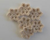 Crocheted Flowers - Ecru - Buttercups - Bamboo - Crocheted Appliques - Crocheted Embellishments