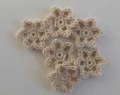 Crocheted Flowers - Ecru - Buttercups - Bamboo - Crocheted Appliques - Crocheted Embellishments