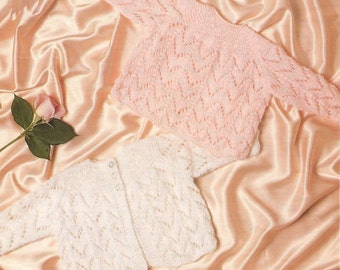 Knitted Prem Baby Matinee Coat and Angel Top Knitting Pattern PDF (N218)
