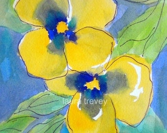 Yellow Pansies Watercolor Print
