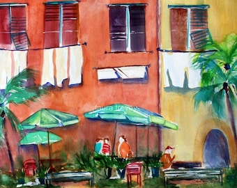 Italian Street Scene Watercolor Print