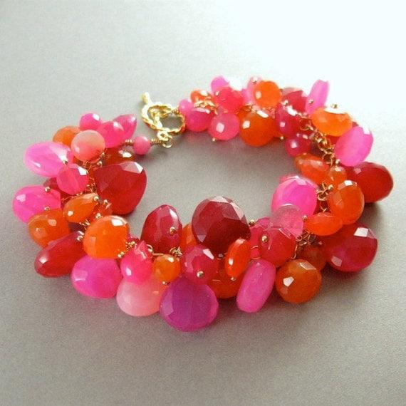 Pink  and Orange Chalcedony Gold Fill Bracelet - Tango