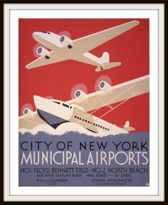 City of New York Municipal Airports Airplane and Seaplane 1930s WPA Poster Giclee Fine Art Print