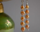 5 stacked pearl and sterling silver wire wrapped earrings